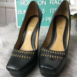 L.A.M.B. Black Leather Platform Heels Sz 7.5m